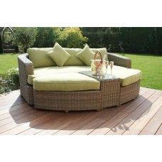 maze rattan garden furniture natural milan green daybed