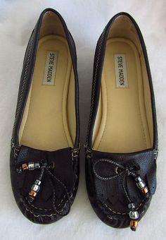 STEVE MADDEN BEATITT Black Leather Beaded Moccasins 8 M Wedges Heels Shoes