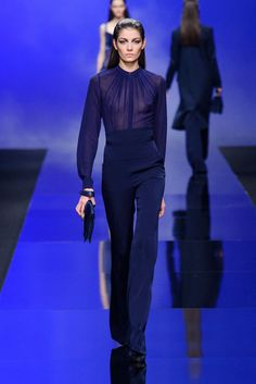 [Elie Saab Fall 2013] Pretty neckline pleating, great silhouette, and lovely inky blue.