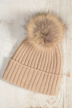 5ef3fe0c809 Cashmere Beanie Hat with Detachable Silver Fox and Raccoon Fur Poms