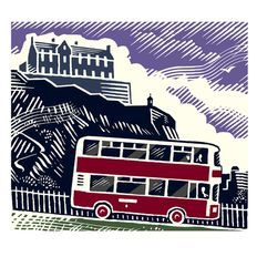 Bus on The Mound Exclusive Framed Print by Edinburgh illustrator Iain McIntosh