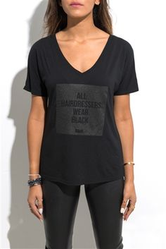 Everyone knows All Hairdressers Wear Black and we are all about the AHWB life. Flaunt your style with our boyfriend fit womens' hashtag tee. This shirt is pre-shrunk and made from a cotton blend so comfortable you'll be reppin' TONI&GUY from the salon thr Trendy Outfits, Cute Outfits, Fashion Outfits, Work Outfits, School Outfits, Salon Wear, All Black Outfit, Black Outfits, Work Attire