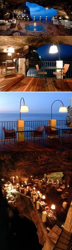 Cave restaurant is located underneath the Grotta Palazzese hotel in the small town of Polignano a Mare, Italy. Offers breathtaking views of the Adriatic Sea.