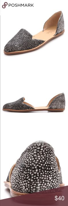 Loeffler Randall Prue d'Orsay Flats Size 6.5. A loafer-inspired, notched vamp looks modern on speckled haircalf d'orsay flats. Flexible rubber sole. Dyed hair calf. Loeffler Randall Shoes Flats & Loafers