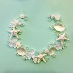 White Abalone Bridal Crown Beaded Sea Shell Bridal by HairDoodleDo