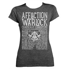 World of Warcraft Class Specialization / Roleplaying / Fantasy Inspired Ladies T-shirt - Affliction Warlock - Clothing, Art Prints and Posters Available now! #worldofwarcraft #wowwarlock #afflictionwarlock #worldofwarcraftwarlock #warcraftart #warlockart #realmone #realmonestore #rpgclass #warlocktshirt #worldofwarcrafttshirt #worldofwarcrafttee