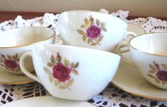 Lenox Roselyn Gold Backstamp Set of Four Teacups by ChinaGalore, $40.00