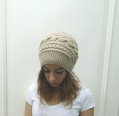 Hand Knitted BEIGE CABLED Beanie HATwomenteenagefall by MARYsworks, $35.00
