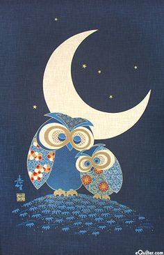 Owls & Moonlight - Noren Panel - Indigo/Gold