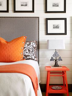 Masculine Color Scheme - this neutral color scheme is punched up with hits of deep, bright orange on the pillow shams, throw and side table.  Almost any accent color would work here.