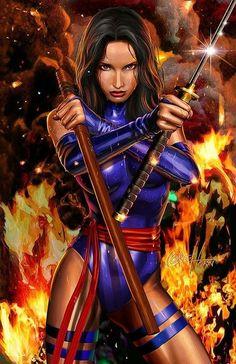 Female Stars Of Comics - Psylocke-Greg Horn Marvel Comic Universe, Marvel Comics Art, Marvel Heroes, Anime Comics, Comics Universe, Comic Book Characters, Comic Book Heroes, Marvel Characters, Comic Books Art