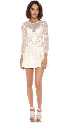 Self Portrait Panelled Long Sleeve Dress in Off White