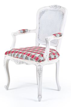 French Salon rattan Back Armchair. A popular French armchair with carved floral decoration, rattan back and upholstered seat arms. Available painted and polished in any colour and upholstered in any fabric.