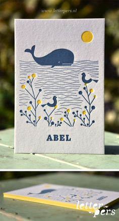 Dit mooie geboortekaartje voor Abel is getekend door zijn moeder en wij mochten het drukken. Op de voor- en achterkant hebben we twee kleuren gedrukt en nog een keer kleur op snede.  Dit is een vanaf prijs voor letterpers.  De kaart kan geprint worden zonder kleur op snede.  Copyright Letterpers  Voor meer informatie, mail ons!
