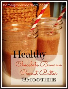 This sounds so yummy! Healthy chocolate banana peanut (or almond) butter smoothie. It also has some chocolate in it, what's not to love?!