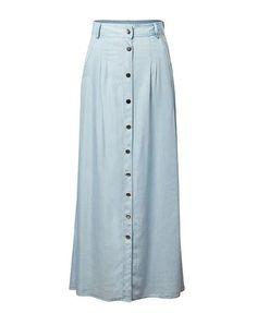 5f55a357c Denim fabric High waisted Button front Side pockets Maxi Skirt, Denim Skirt  1cm = 0.3937