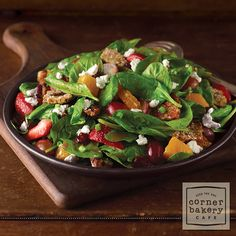 Spinach Sweet Crisp Salad - Recipe from Corner Bakery. It's easy to make at home and pack for lunches - one of my favorite salads!