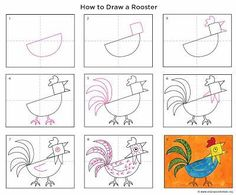 Art Projects for Kids: How to Draw a Rooster. FREE printer friendly pdf file available for download. #artprojects