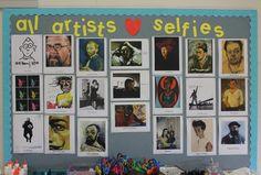 Artist Selfies- self-portrait bulletin board