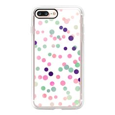 Girly Pink Turquoise Confetti Polka Dots Pattern Products - iPhone 7... (110 BRL) ❤ liked on Polyvore featuring accessories, tech accessories, iphone case, pink polka dot iphone case, polka dot iphone case, apple iphone case, pink iphone case and slim iphone case