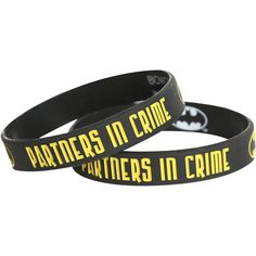 DC Comics Batman Partners In Crime Rubber Bracelet 2 Pack Hot Topic ($5.60) ❤ liked on Polyvore featuring jewelry, bracelets, rubber bracelet, rubber jewelry, bracelet jewelry, rubber bangles and bracelet bangle