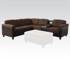 Cleavon Chocolate Espresso Wood PU Reversible Sectional Sofa