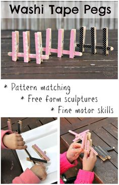 DIY washi tape clothes pin peg game - great for pattern matching, free form sculpture and fine motor skills for toddlers and preschoolers Creative Activities For Kids, Toddler Learning Activities, Easy Crafts For Kids, Infant Activities, Toddler Preschool, Motor Activities, Creative Play, Washi Tape Crafts, Pattern Matching