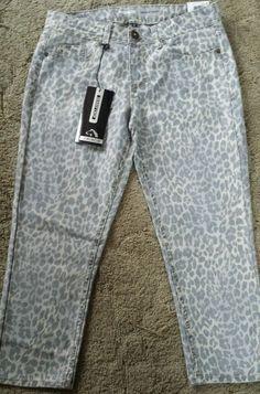 Jordache Womens Size 6 Skinny Crop Capri Pants Bottoms Animal Print NEW #Jordache #CapriCropped