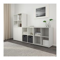 EKET Storage combination with feet - white/light gray - IKEA