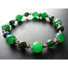 Green Jade bracelet with Smokey Quartz stones featuring Ruby, Sapphire... ($19) ❤ liked on Polyvore featuring jewelry, bracelets, emerald jewelry, green charm, star charms, jade bangle and green stone jewelry