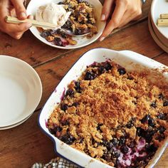 """Blueberry Crisp: """"Wrap up a summertime meal with a delightful—and easy to make—blueberry crisp. Ripe, fresh blueberries are perfect for this dish, though frozen berries will also work. But keep them frozen, and bake the crisp 10 or 15 minutes longer as needed. Thawed berries are too fragile to toss and give off lots of liquid."""""""