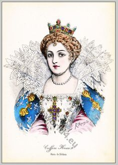 French renaissance hairstyles. Maria de' Medici.
