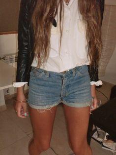 white shirt, jean shorts, leather jacket