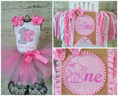 Pink and Gray Elephant 1st Birthday Tutu by GigglesandWiggles1