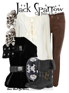 """""""Pirates of the Caribbean"""" by wearwhatyouwatch ❤ liked on Polyvore featuring Karen Millen, Wallis, Thomas Wylde, Tina Tang, Nicholas King, Dorothy Perkins, ruffle blouses, skinny jeans, leather leggings and cuff bracelets"""