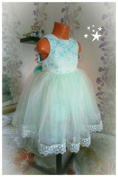 Купить Нарядное платье для девочки Бирюзовая снежинка в интернет магазине на Ярмарке Мастеров