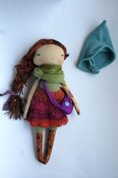 darling earthy pixie Lu doll 13ish rag doll cloth by humbletoys