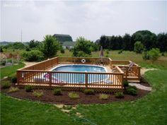 Semi Inground Pools | Semi inground pool with deck