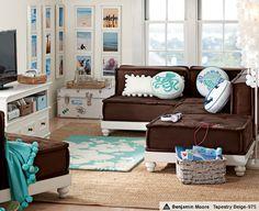 I like this idea for a kids lounge room. Cute colors!