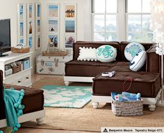 I like this idea for a kid's lounge room. Cute colors!