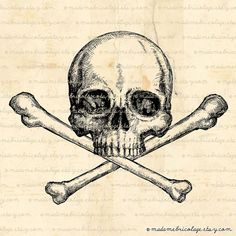Skull and Crossbones Illustration, Digital Image Download for Iron on Transfer Papercrafts Pillows T-Shirts Tote Bags Burlap No 00694 on Etsy, $2.00
