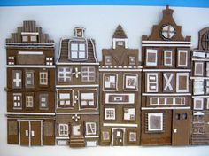 relief buildings - ideas for cardboard / box building fronts / decoration