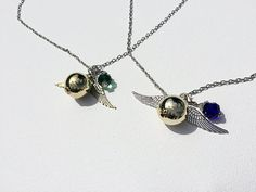 Harry Potter Snitch Necklace with House Color Bead  by Taypop