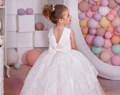 Lace Ivory Flower Girl Dress  Holiday Wedding Birthday Party