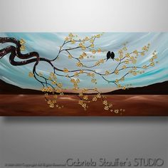 Abstract Painting Tree Painting Birds Painting Asian by Catalin