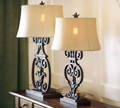 Sabina Figural Table & Bedside Lamp Base, okay i love potter barn but this can be diy.  wood base, hobby lobby for the scrolls, lowes/home depot has the metal part used in the back to run the cord in, and the light socket/cord, your fav shade, etc.