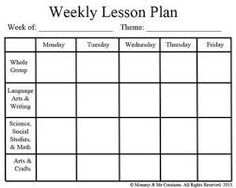Weekly Preschool Lesson Plan Template  Daycare  The Business