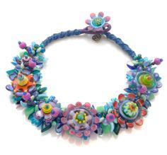 blue flower necklace - stephanie sersich