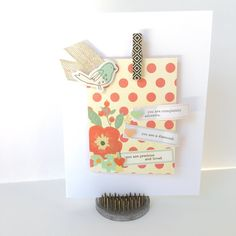 Adorable Card, by Katherine Maynard using the Lunch Break collection from www.cocoadaisy.com #cocoadaisy #scrapbooking #kitclub #cards #DITL #clothespin #washi #diecuts #labels #burlap #ribbon