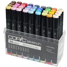 LIMITED EDITION COPIC 25th ANNIVERSARY SKETCH SET 36 PENS MARKERS + Storage Box | eBay